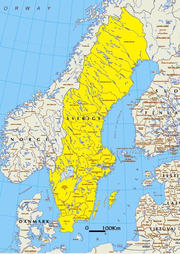 schweden landkarte Politische Landkarte von Schweden (in Landessprache) | Weltatlas schweden landkarte
