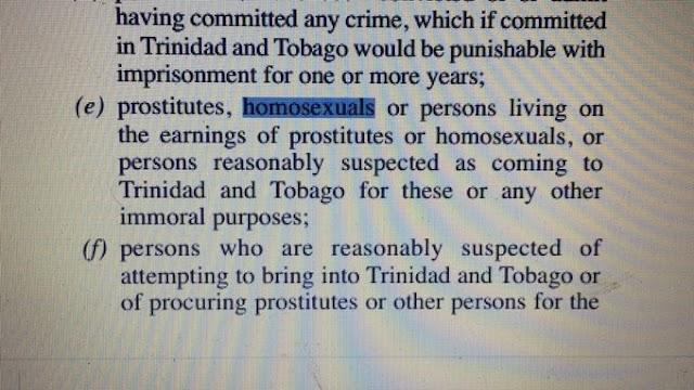 Trinidad y Tobago prohíbe la entrada de Homosexuales, Prostitutas, Ciegos e Idiotas