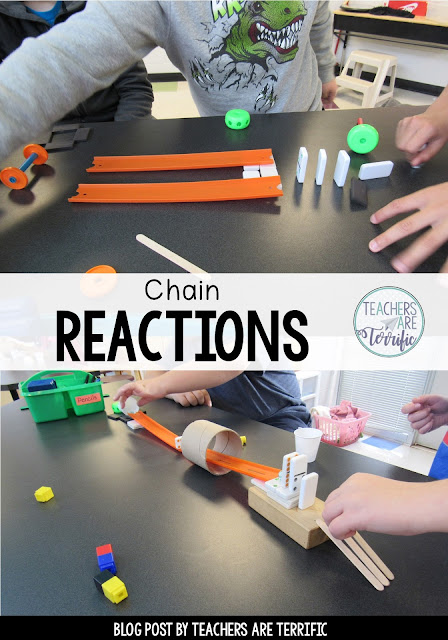STEM with chain reactions! Kids build chain reaction contraptions using a variety of classroom items like craft sticks and dominoes. Great fun!
