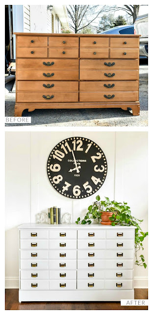 DIY apothecary cabinet inspired dresser makeover