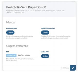 Halaman portofolio pada pendaftaran SNMPTN