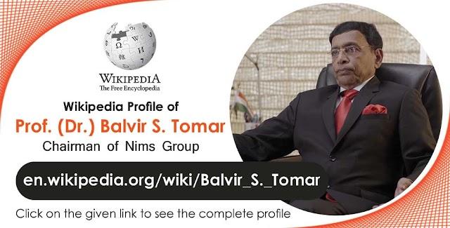 Prof Dr Balvir S Tomar (Dr BS Tomar) Wikipedia Profile
