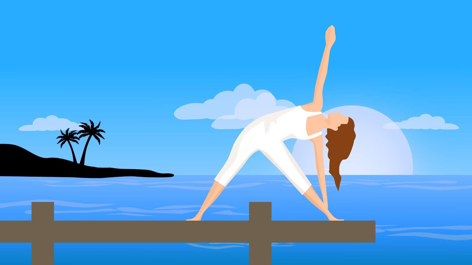 Illustration of woman yoga pose outdoor