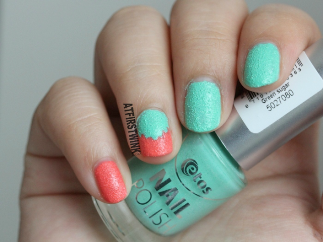 Etos sugar nail polishes coral and green nail art ice cream