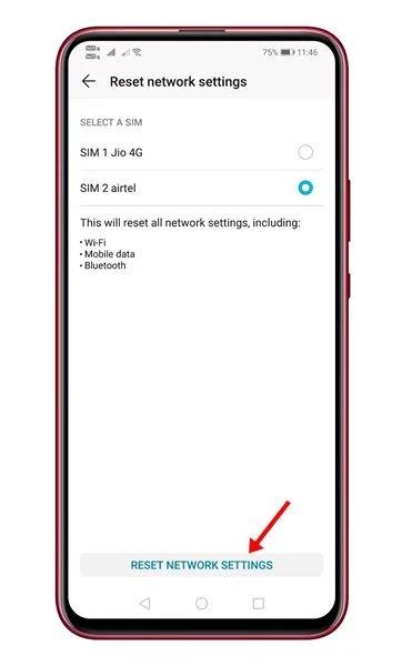 إعادة تعيين إعدادات الشبكة على اندرويد