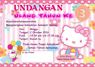 Fathonan Desain Undangan Ulang Tahun Karakter Hello Kitty Cdr