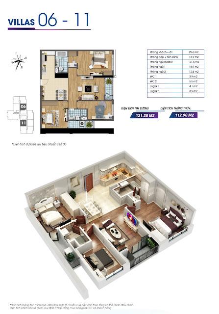 Mặt bằng căn hộ số 06 và căn hộ số 11 tòa Sapphire 2