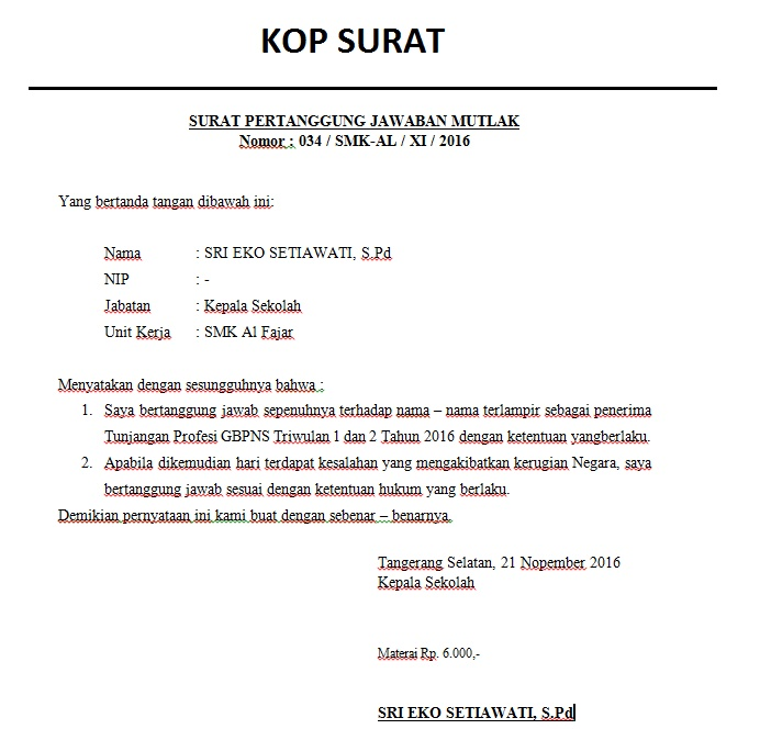 Contoh Surat Pernyataan Tanggung Jawab Mutlak Spjtm Info Tangsel