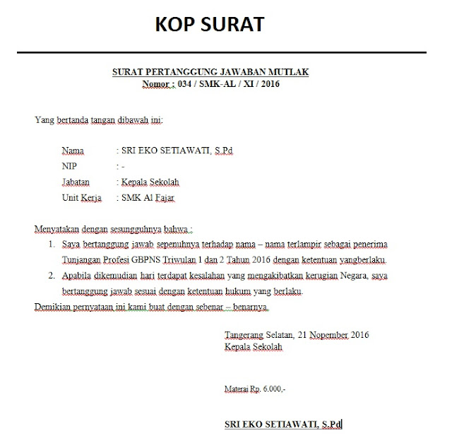 Contoh Surat Pernyataan Kepala Sekolah Untuk Akreditasi Contoh Surat