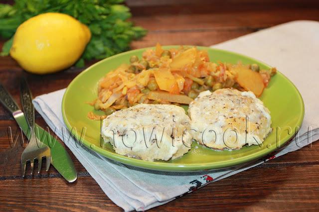 рецепт рыбных биточков с овощным рагу