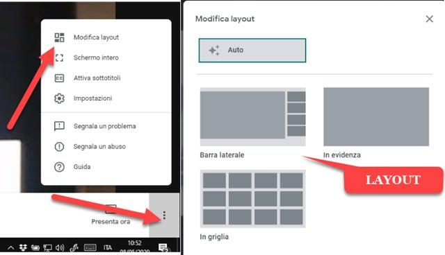 modificare il layout dello schermo