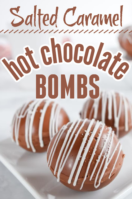 salted caramel hot chocolate bombs with text overlay