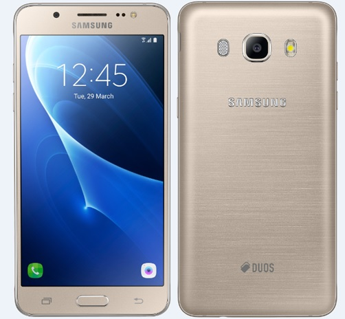 Samsung Galaxy J5 smartphone front and rear view.