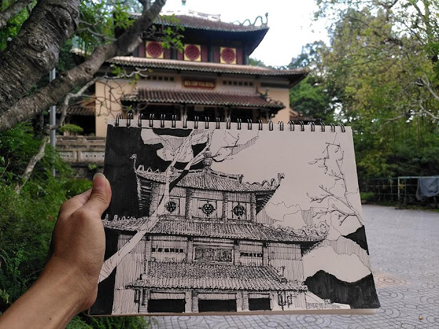 Ký họa đền hùng ở thảo cầm viên