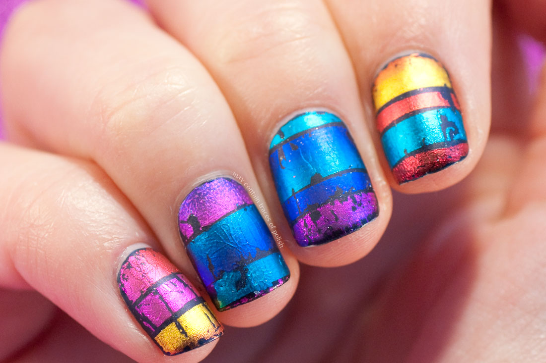Cool Matte Foil Gradient Nail Art Design