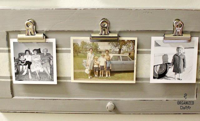 Cabinet Door Repurposed Photo Display