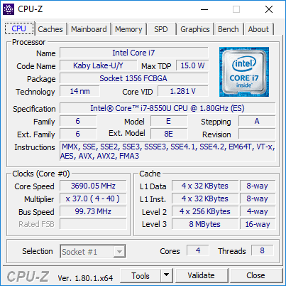 Kinerja CPU Zenbook UX391UA Core i7 quadcore