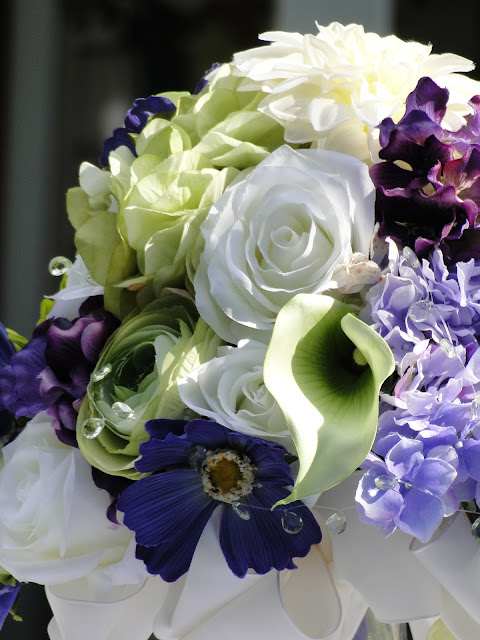 purple and lime faux botanical bouquet The Camellia