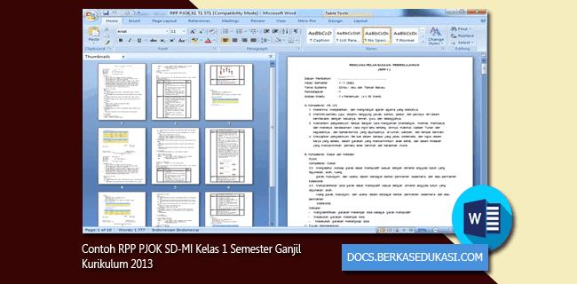 Contoh RPP PJOK SD-MI Kelas 1 Semester Ganjil Kurikulum 2013