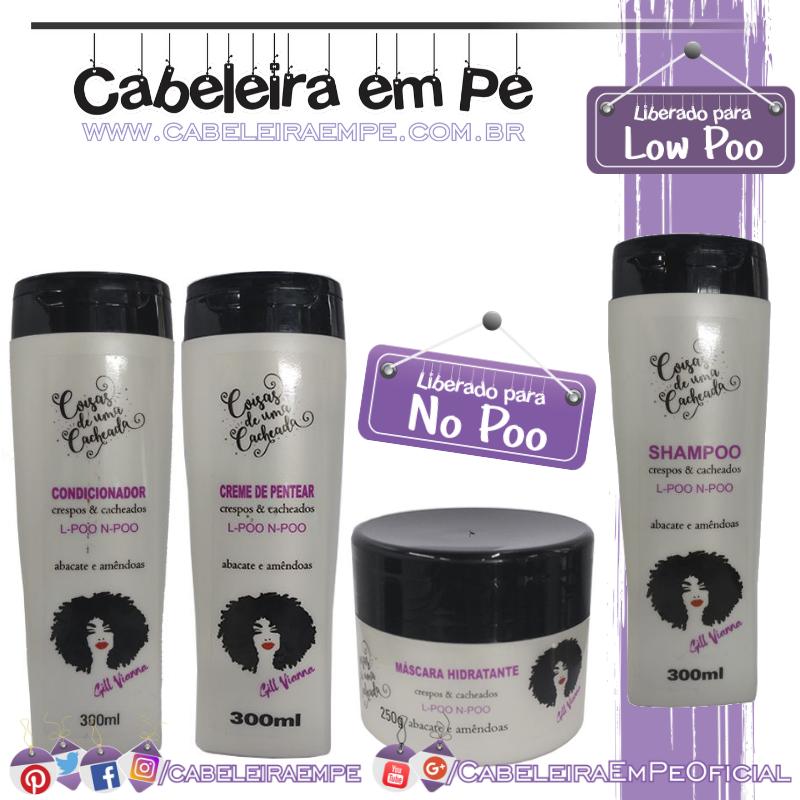 Shampoo (Low Poo), Condicionador, Máscara e Creme para Pentear (Liberados para No Poo) Crespos & Cacheados Abacate e Amêndoas Gill Vianna Dhönna