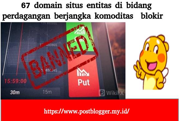 67 domain situs entitas di bidang perdagangan berjangka komoditas di blokir