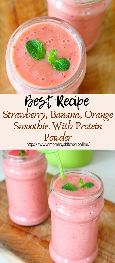 Strawberry, Banana, Orange Smoothie With Protein Powder #healthydrink #easyrecipe