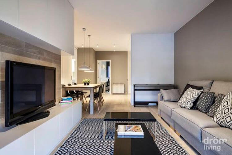 salón pequeño con muebles modulares