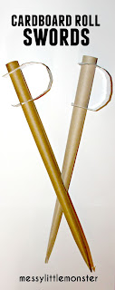 Simple cardboard tube sword craft for boys