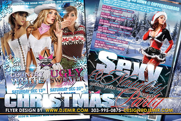 Country White Ugly Sweater and Sexy and Naughty Christmas Party Week flyer design Colorado Springs, CO. Alternate Flyer design