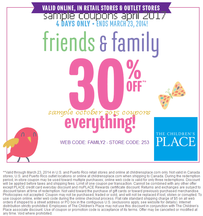 Coupon code children's place