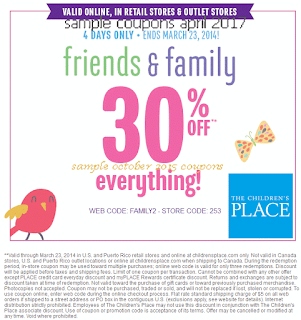 free Childrens Place coupons april 2017