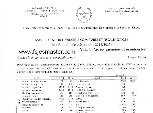 Concours Master Gestion Financière Comptable et Fiscale (GFCF) 2016-2017 - Fsjes Agdal