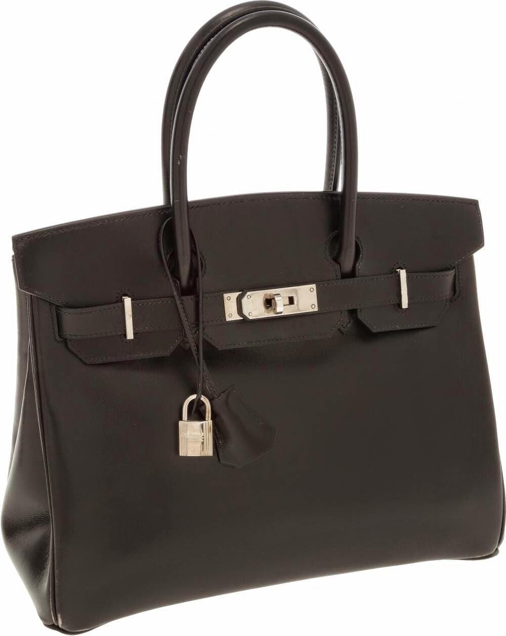 7dfc50eac8 Hermes 30cm Black Calf Box Leather Hermes Birkin Bag with Palladium  Hardware