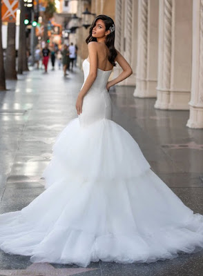 Pronovias Mermaid with Sweetheart Neckline Bridal Dress back design