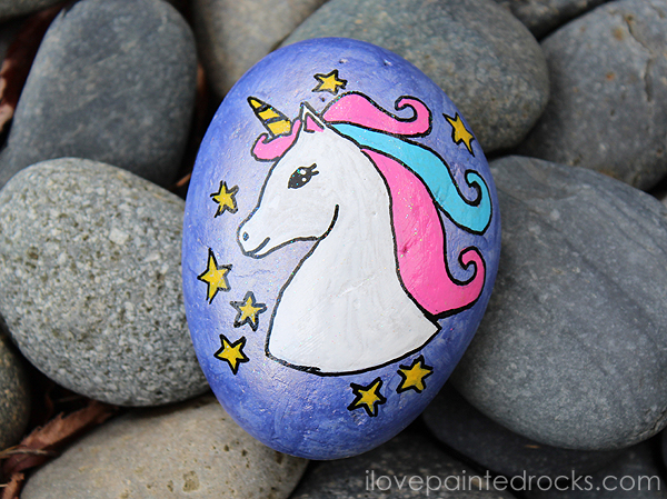 Unicorn painted rock made with a stencil