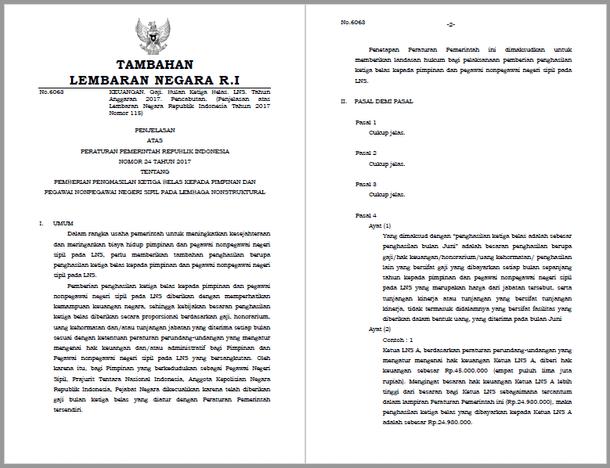 PP Nomor 24 Tahun 2017 Tentang Pemberian Penghasilan Ketiga Belas Kepada Pimpinan dan Pegawai Nonpegawai Negeri Sipil Pada Lembaga Nonstruktural
