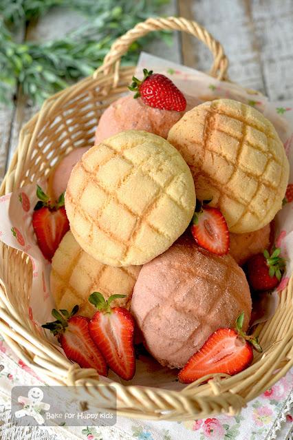 Japanese vanilla strawberry melon pan