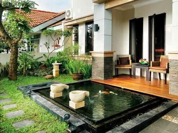 Conconcontoh rumah minimalis 1 lantai dengan kolam ikan kecil di depan rumah