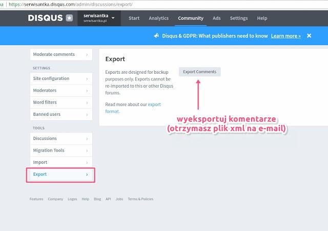 Eksport komentarzy z Disqus aby przenieść je do WordPressa