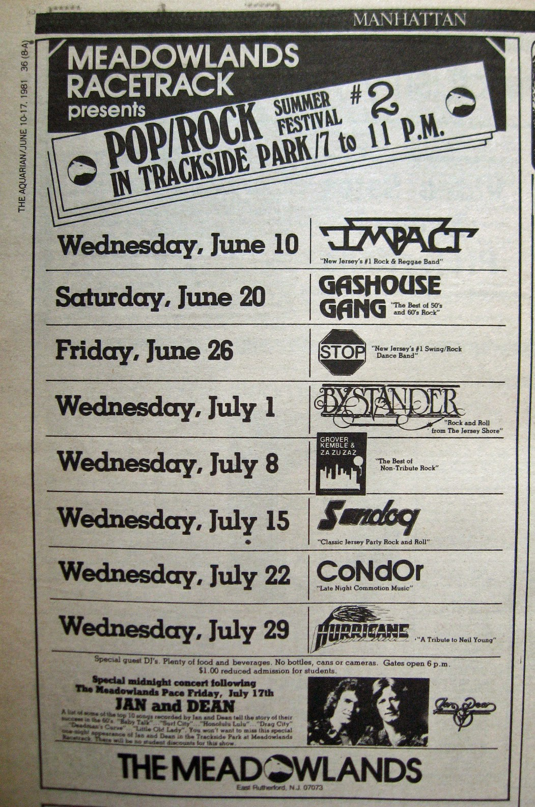 Meadowlands Racetrack band lineup June 1981