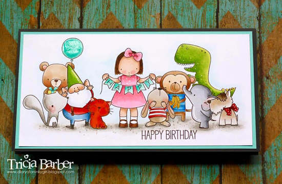 Cheeky Monkey, Forest Friends, Snuggle Bunnies, and You're Rawr-some stamp sets, Birdie Brown Adorable Elephants, Beary Special Birthday, Cool Cat, Lucky Dog, You Gnome Me stamp sets, Pure Innocence Happy Banner stamp set - Tricia Barber #mftstamps