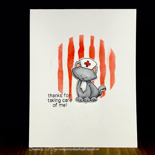 Thanks for caring for me by A. Rose features Newton's Sick Day by Newton's Nook Designs; #inkypaws, #newtonsnook, #cardmaking, #catcards, #nursecards