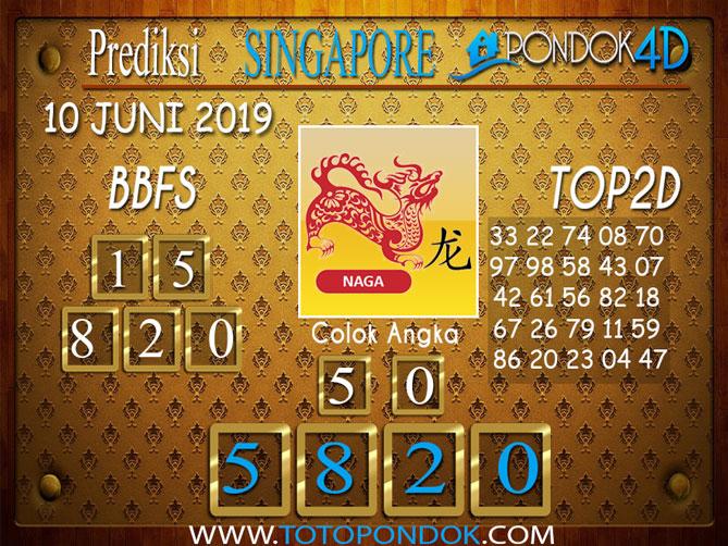 Prediksi Togel SINGAPORE PONDOK4D 10 JUNI 2019