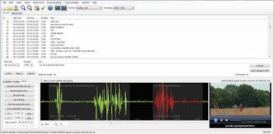 Ventana principal con forma de onda y reproductor de video de subtitle edit