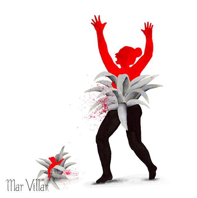 Inktober, Inktober 2016, plantas, bromelia, ilustración a tinta, silueta humana, tinta, aguada de tinta, quink, tinta parker