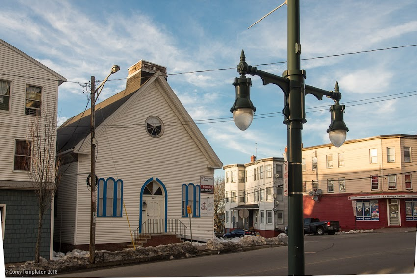 Portland, Maine USA March 2018 photo by Corey Templeton. A former church at the corner of Congress & Weymouth Streets, currently for sale.
