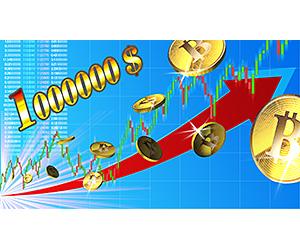 100万ドルを目指すビットコインのイメージ