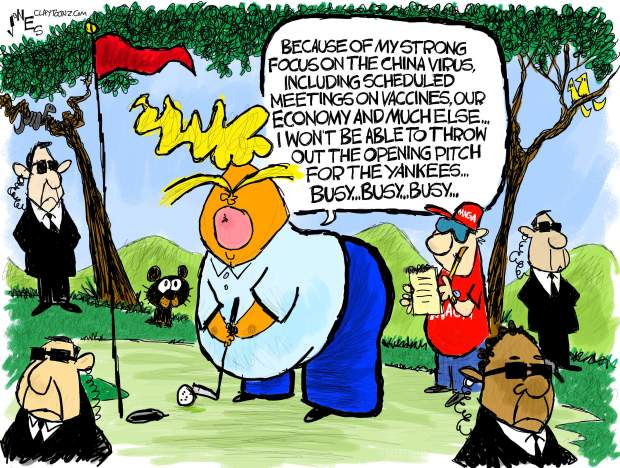 Donald Trump putting on the golf course says,