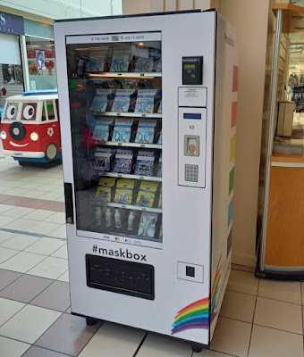 A Mask Vending Machine at the Spinning Gate shopping centre in Leigh