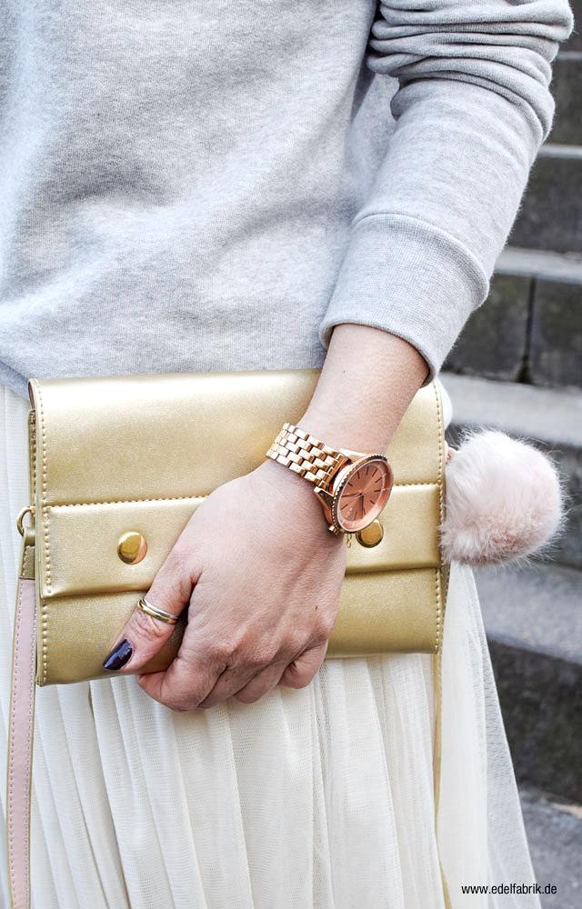 rosegold Uhr von Esprit, goldene Handtasche